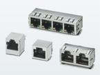 基板取付用RJ45ジャック。通信速度最大10Gbpsでマルチポートあり